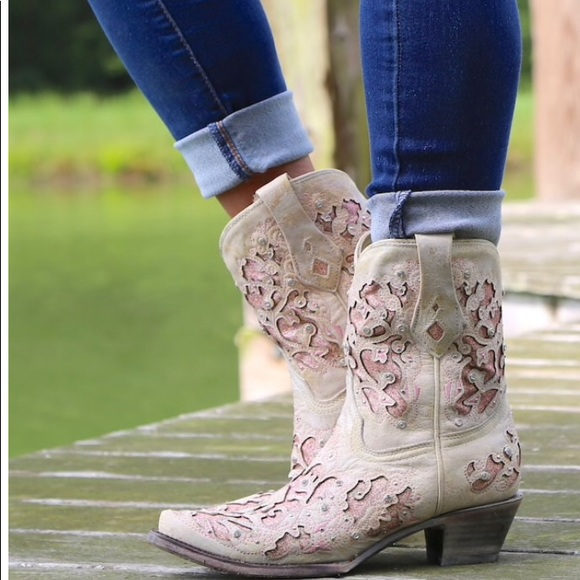 1a4b3cf8973 CORRAL PINK n WHITE Glitter Inlay ankle boots